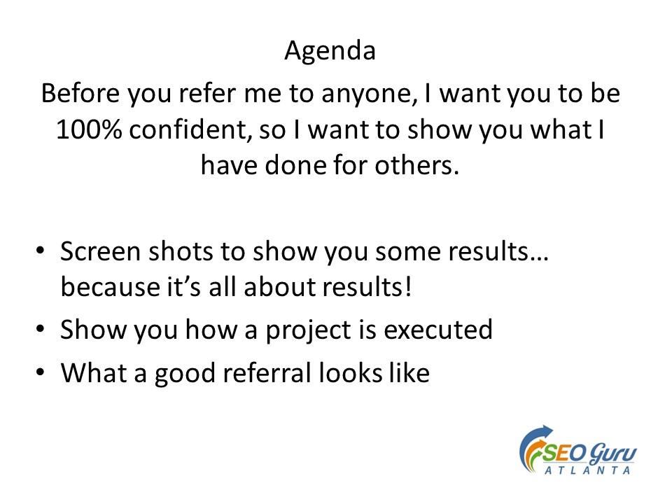 SEO Guru Agenda