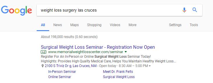 weight loss surgery google ad